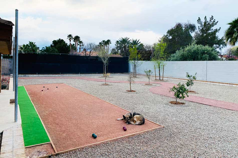 quail house backyard bocce ball court